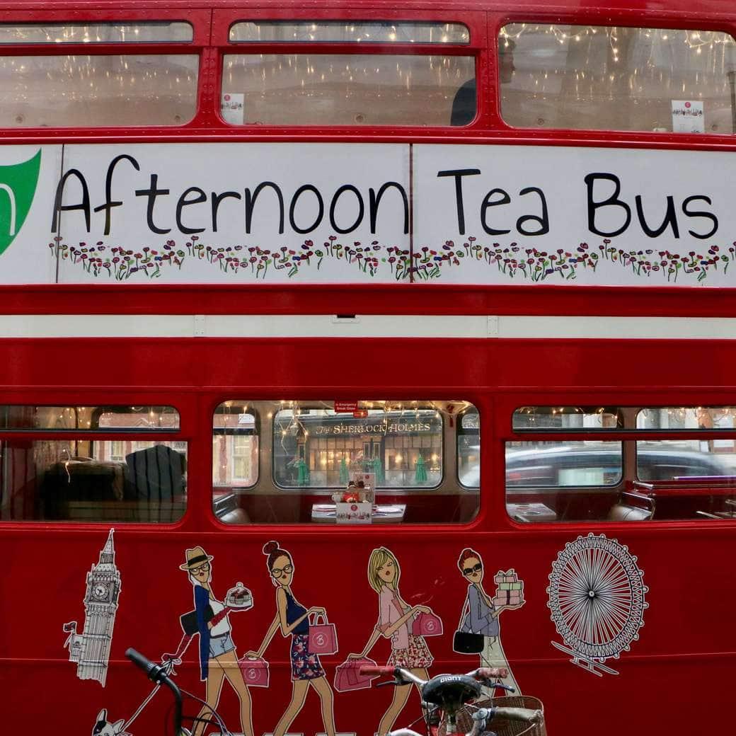 Afternoon tea bus in London