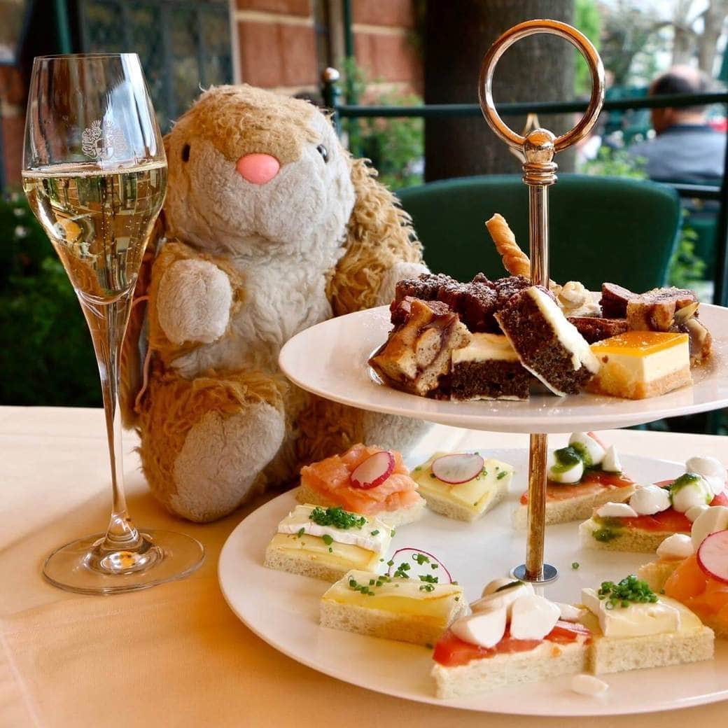 Image of Bunny having afternoon tea