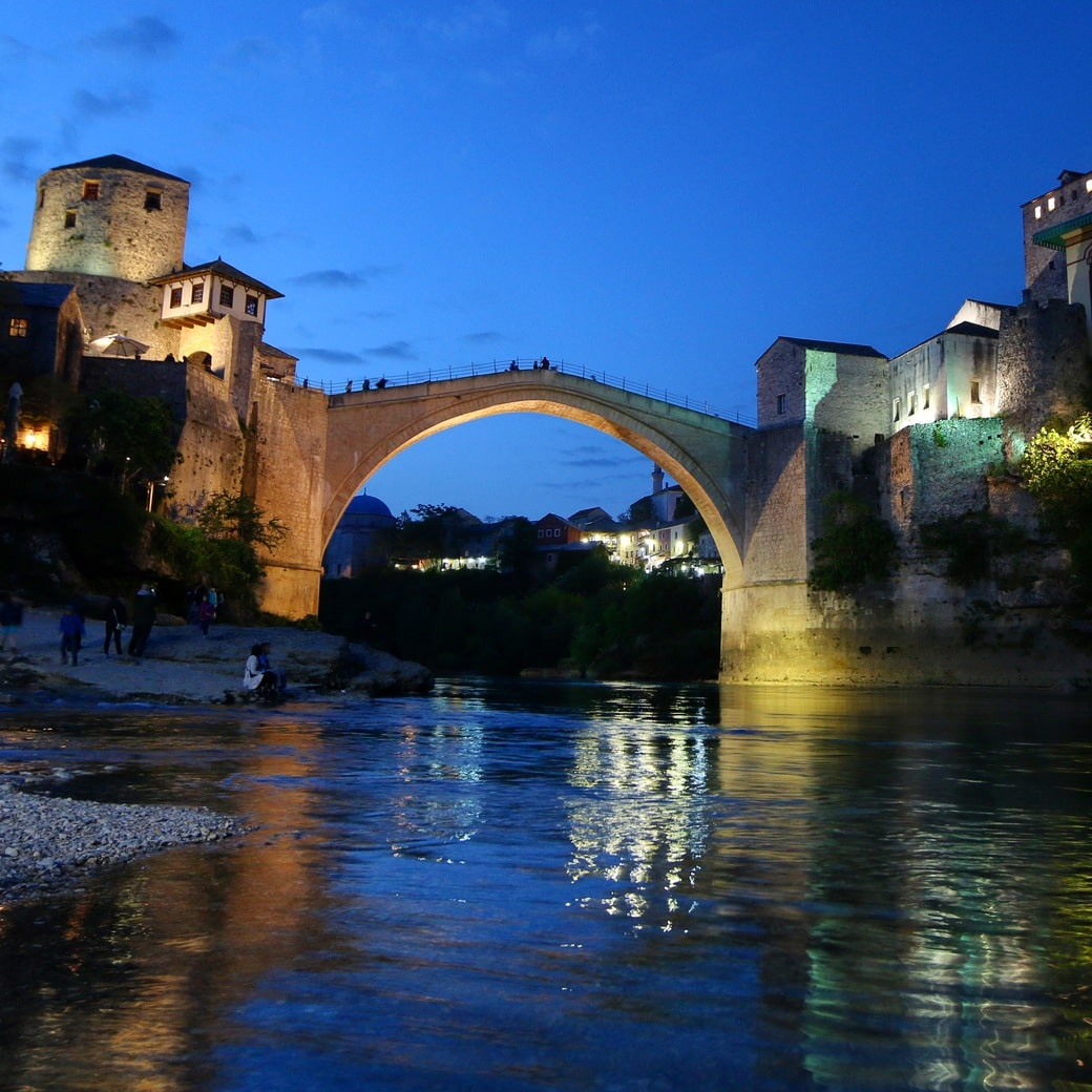 Image of Mostar by night