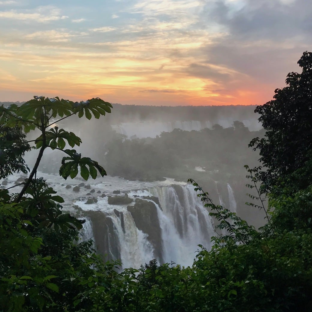 Image of sunset at Iguazu Falls, Brazil