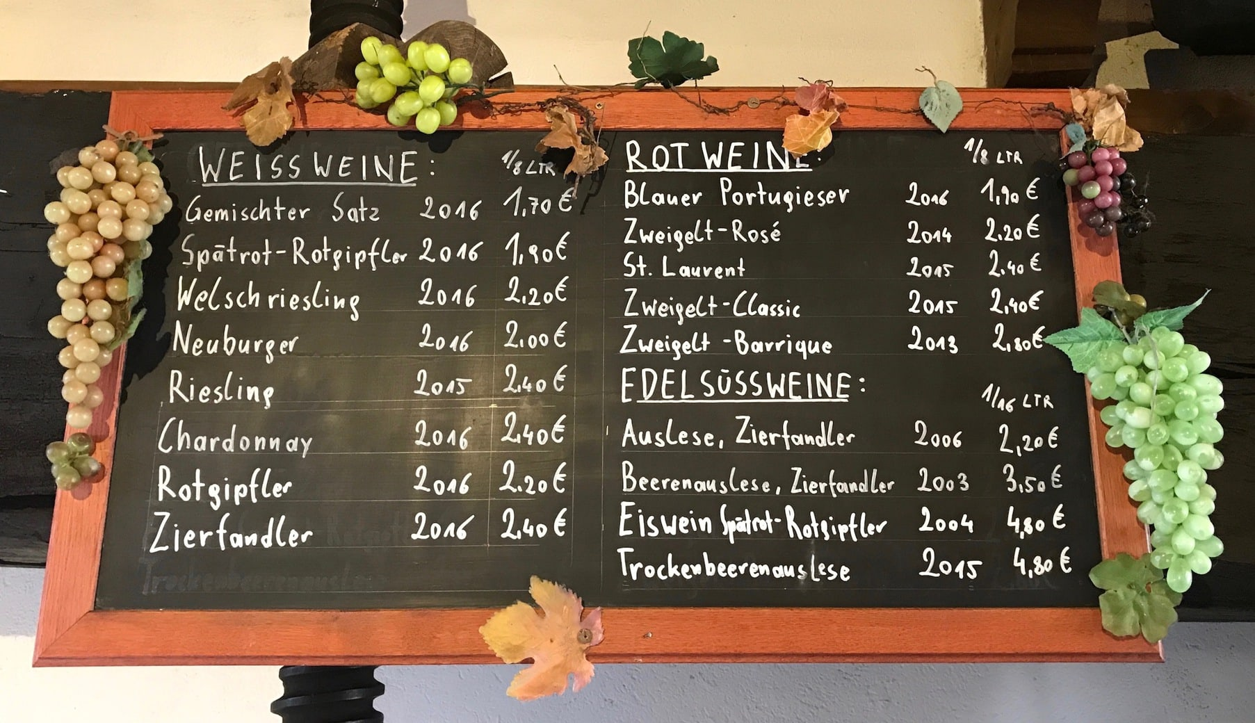Image of wine menu