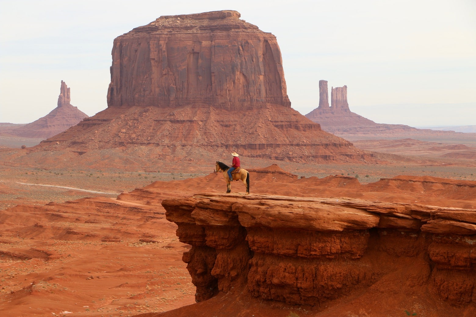 A lonely rider in Monument Valley