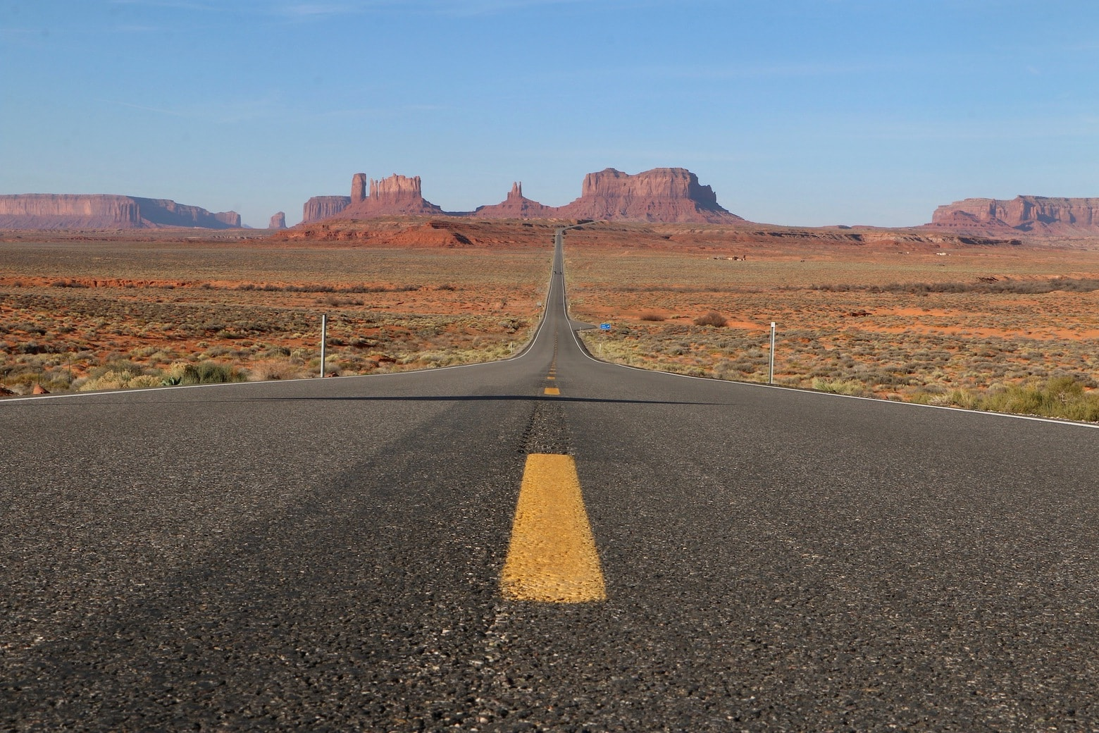 Open road in Monument Valley