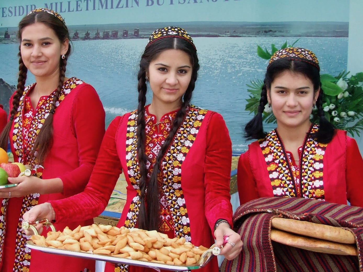 Turkmen girls in traditional outfits