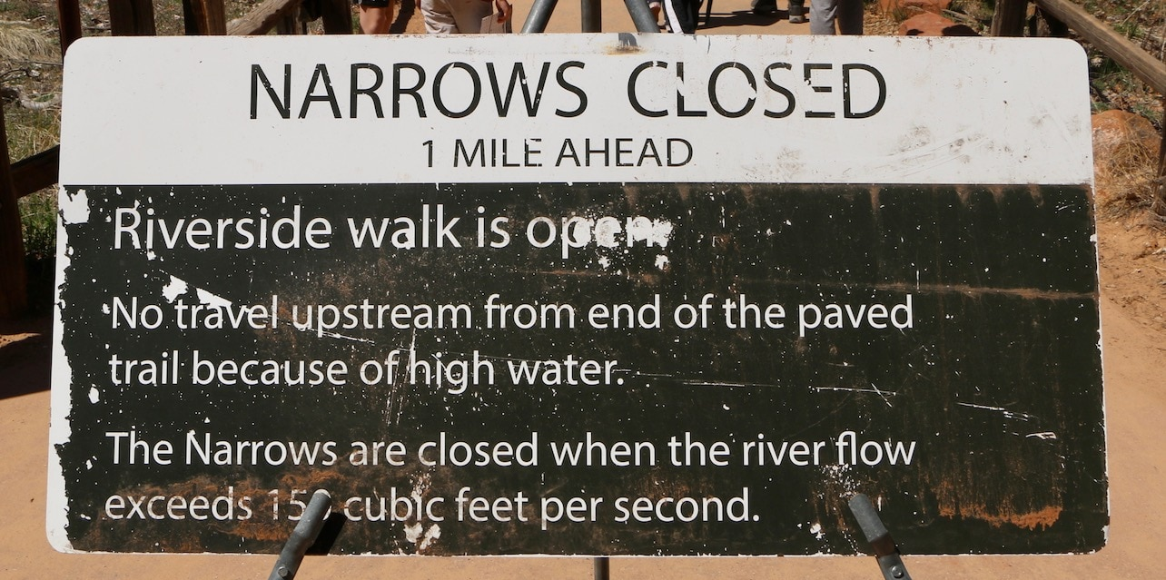 Narrows closed in Zion