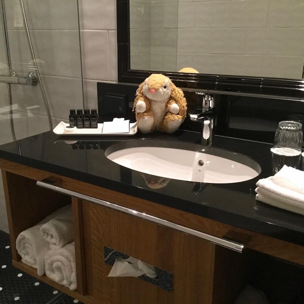 Bunny likes the bathrooms at Lilla Roberts