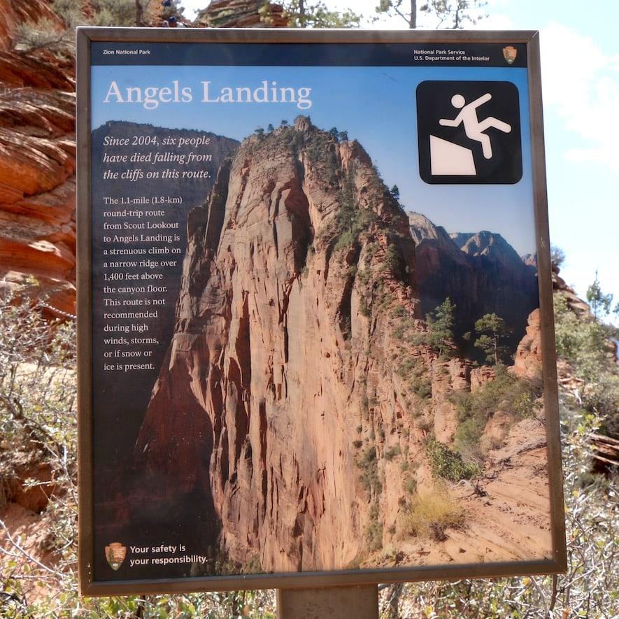 Angels Landing trail warning sign