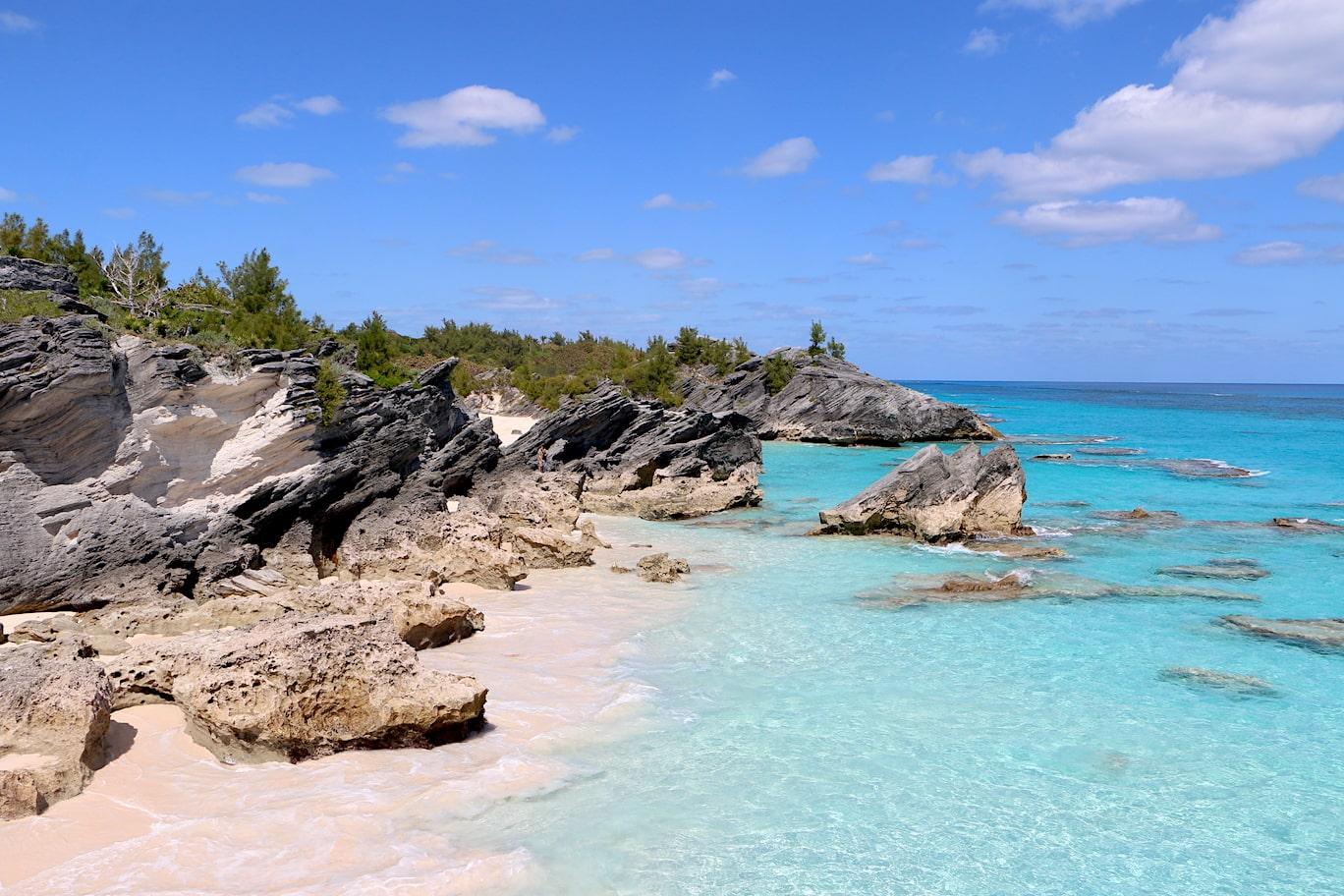 Walking past Horseshoe Bay in Bermuda