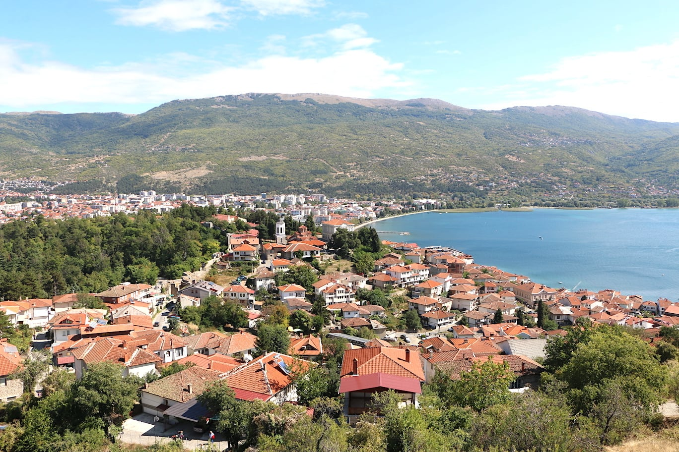 View of Ohrid old town from the castle