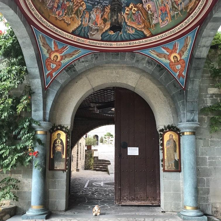 Bunny at the monastery entrance