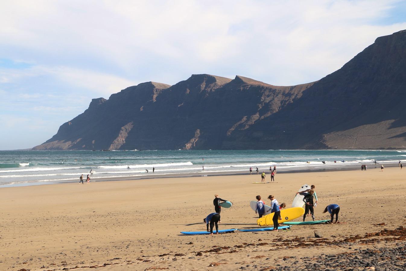 Surfers on Playa de Famara