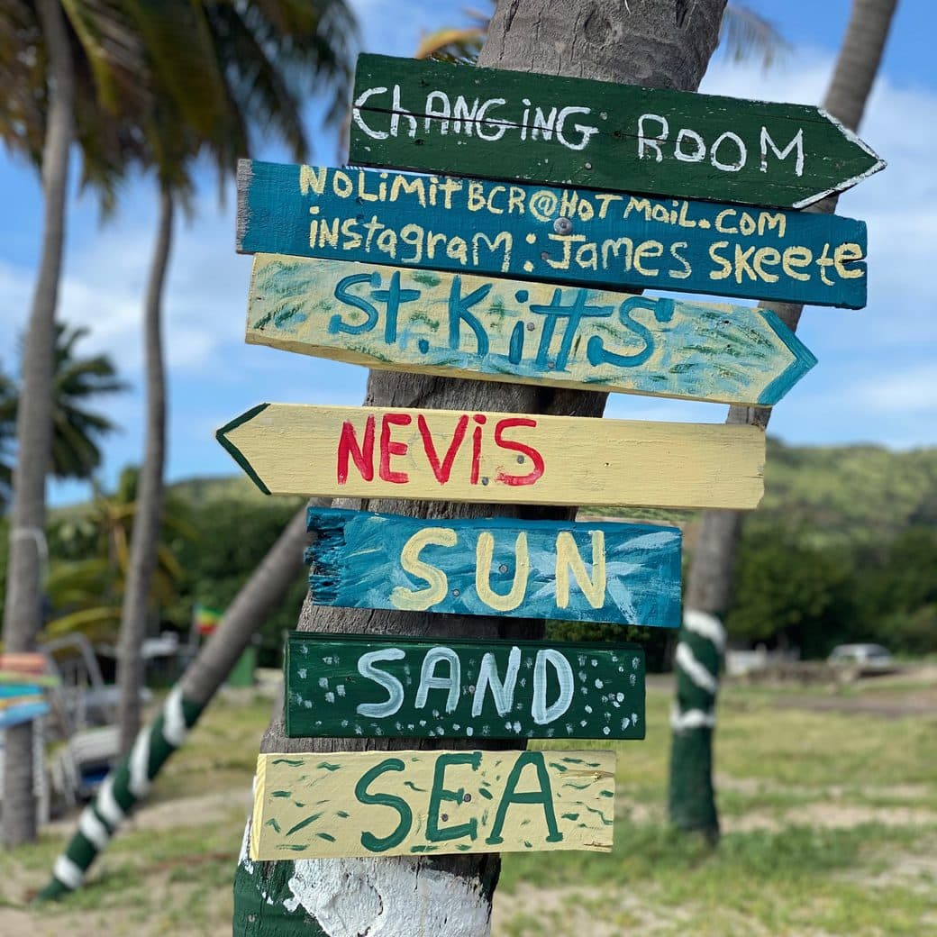 Beach sign in St. Kitts